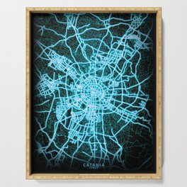 Chengdu, Sichuan, China, Blue, White, Neon, Glow, City, Map Serving Tray