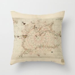 Antique / Vintage Map - The Black Sea, from Andrea Bianco's Atlas (1436) Throw Pillow