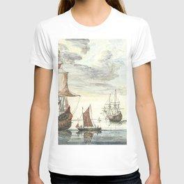 Ships on a calm sea by Johan Teyler (1648-1709) T-shirt