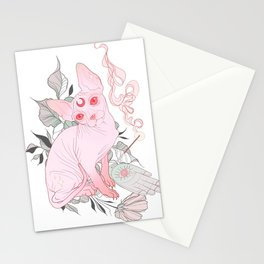 Incense Sphynx Cat │Neo Traditional│Pink Stationery Cards