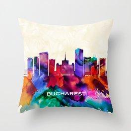 Bucharest Skyline Throw Pillow