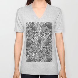 Black and White Watercolor Bouquet Unisex V-Neck