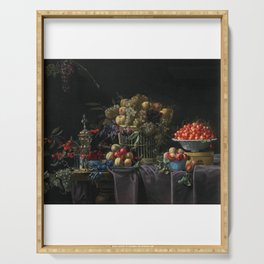 Basket of Grapes, Bowl of Cherries Serving Tray