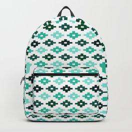 Geometric Flower Cross Stitch Appearance - Aqua Teal On White Backpack