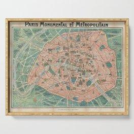 Vintage Paris Map France Serving Tray
