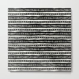Black and White Boho Lines and Dots Handmade Mud Cloth Metal Print