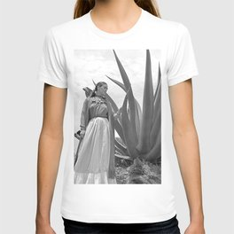 Frida Kahlo and Agave Plant, Black and White, Vintage Art T-shirt
