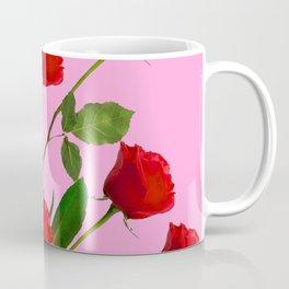 RED LONG STEMMED ROSES ON PINK Coffee Mug