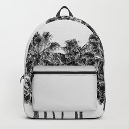 California Beach Vibes // Black and White Palm Trees Monotone Travel Photograph Backpack