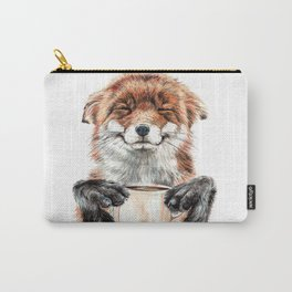 """ Morning fox "" Red fox with her morning coffee Tasche"