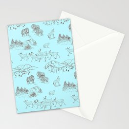 Arctic Wildlife Pattern (Light Blue and Brown) Stationery Cards