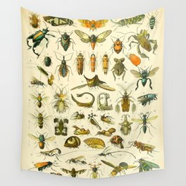 """Adolphe Millot """"Insectes"""" Nouveau Larousse 1905 Wall Tapestry"""