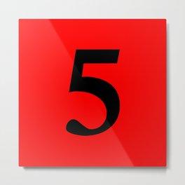 5 (BLACK & RED NUMBERS) Metal Print