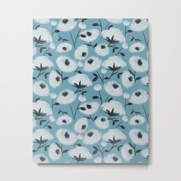 Cotton Flowers on Blue Pattern Metal Print