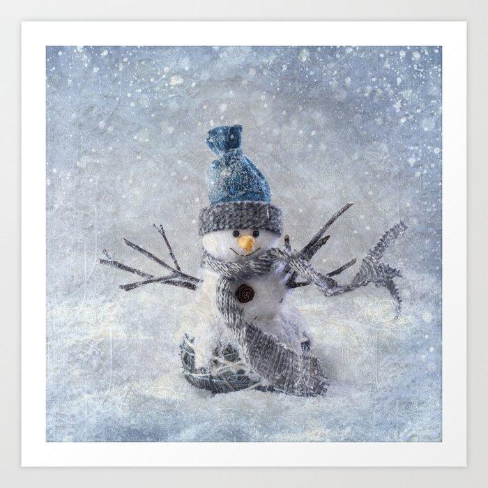 Cute snowman frozen freeze Kunstdrucke