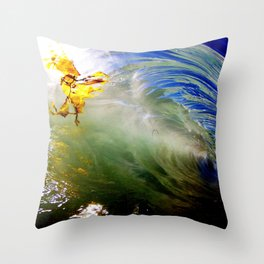 Backlit Kelp & Glassy Shorebreak Barrel Throw Pillow