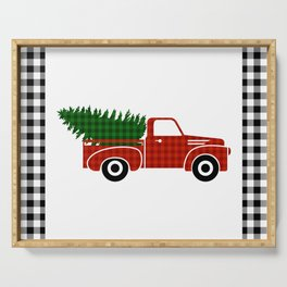 Black and White Buffalo Check Gingham Plaid framed Christmas Truck with Tree Serving Tray