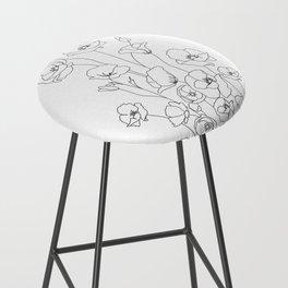 Poppy Flowers Line Art Bar Stool