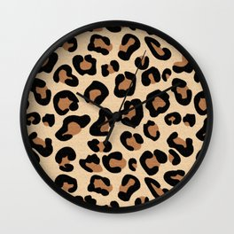 Leopard Print, Black, Brown, Rust and Tan Wall Clock