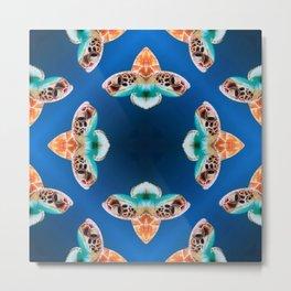 Turtle Pattern - Ocean Creatures - Blue Sea - Turtle Masked Metal Print