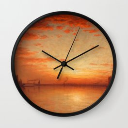 A Sunset, Bay of New York Landscape Painting by Sanford Robinson Gifford Wall Clock