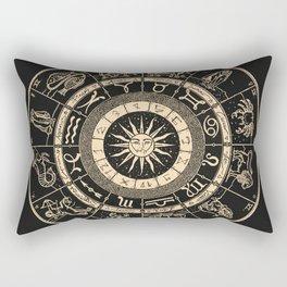 Vintage Zodiac & Astrology Chart | Charcoal & Gold Rectangular Pillow