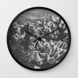 Chollo Cactus Garden (Black + White) Wall Clock
