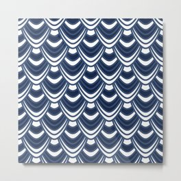 Sync in Navy Blue Metal Print