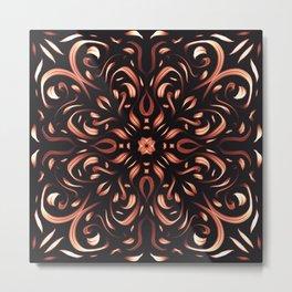 Burning Flames Mandala - Fiery Passion Flower Metal Print