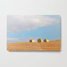 Rolls Of Hay Bale | Tuscany Metal Print