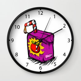 Smiling apple juice box . Wall Clock