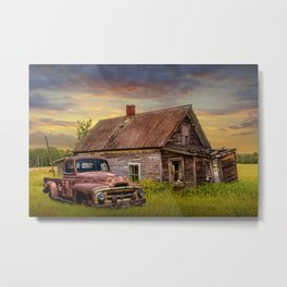 Old Vintage Pickup Truck by an Abandoned House at Sunset Metal Print