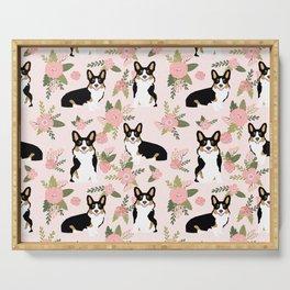 Tricolored Corgi Floral print - feminine blush mint florals dogs, dog lover, dog mom, tri corgi cute Serving Tray
