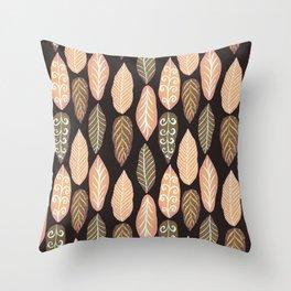 Super Leafy_brown Throw Pillow