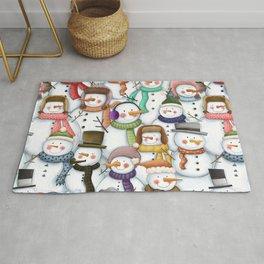 Happy Snowmen Pattern Rug