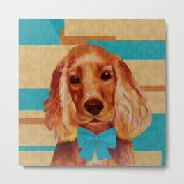 Cocker Spaniel puppy Knitted Style Metal Print