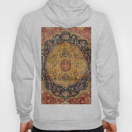 Indian Boho III // 16th Century Distressed Red Green Blue Flowery Colorful Ornate Rug Pattern Hoody