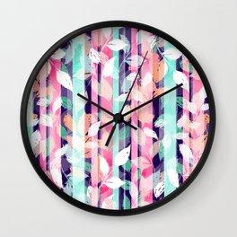 Cute Violet foliage brush paint design Wall Clock