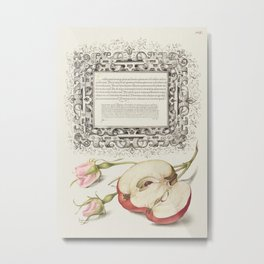 French Rose and Apple from Mira Calligraphiae Monumenta or The Model Book of Calligraphy (1561-1596) Metal Print