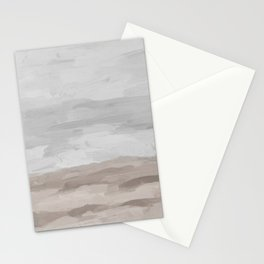 Gray Stormy Clouds Beige Sandy Beach Coastal Ocean Abstract Nature Painting Art Print Wall Decor  Stationery Cards
