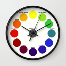 Bonnie E. Snow's and Hugo B. Froehlich's Larger Chromatic Circle (remake, vintage) 1918 (with text or black bg) Wall Clock