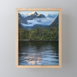 Sunset in beautiful Harrison Cove at Milford Sound Framed Mini Art Print