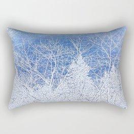 Blue Trees Winter Landscape | Nadia Bonello Rectangular Pillow