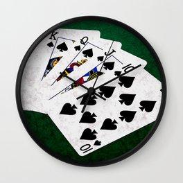 Poker Royal Flush Spades Wall Clock