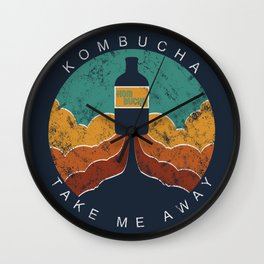 "KOMBUCHA ""Take Me Away"" Rocket // Mushroom Tea Graphic Design Scoby Health Drink Bubble Scooby Wall Clock"