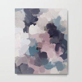 Teal Indigo Lavender Abstract Wall Art, Feminine Painting Print, Modern Wall Art Metal Print
