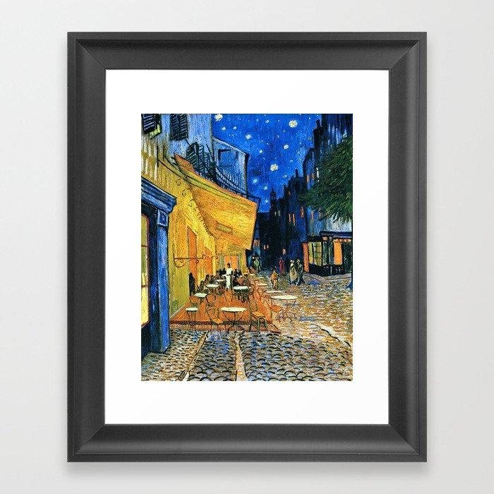 Vincent Van Gogh - Cafe Terrace at Night Gerahmter Kunstdruck