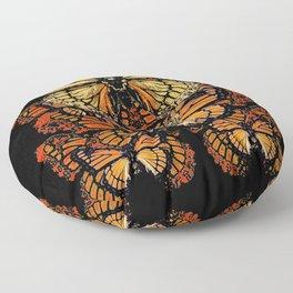 CREAM & RUST COLOR MONARCH BUTTERFLIES BLACK PATTERN ART Floor Pillow