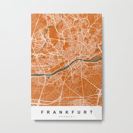 Frankfurt Map | Germany | Coffee & Green | More Colors, Review My Collections Art Print Metal Print