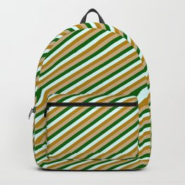 Dark Goldenrod, Tan, Dark Green, and Light Cyan Colored Striped/Lined Pattern Backpack